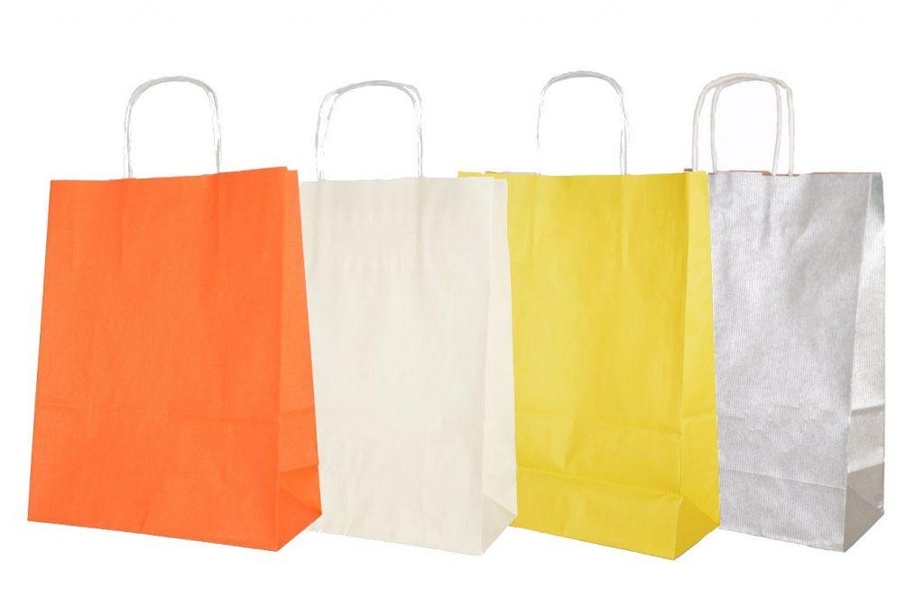 torby papierowe kolorowe: orange, ecru, żółty, srebrny - www.pracowniakreska.eu