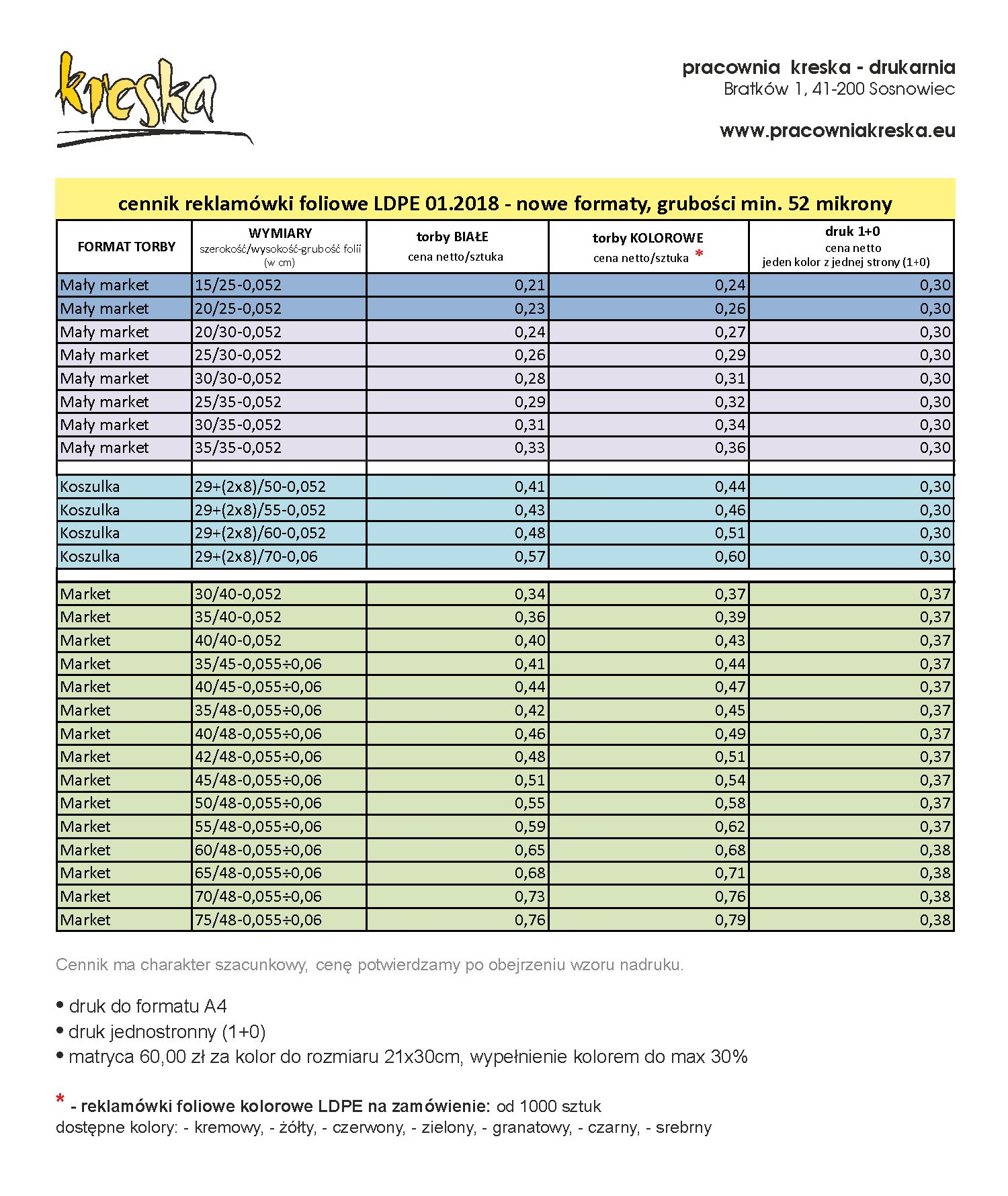 cennik reklamówki foliowe LDPE 08.2019 500-1000 sztuk, pracownia kreska - drukarnia